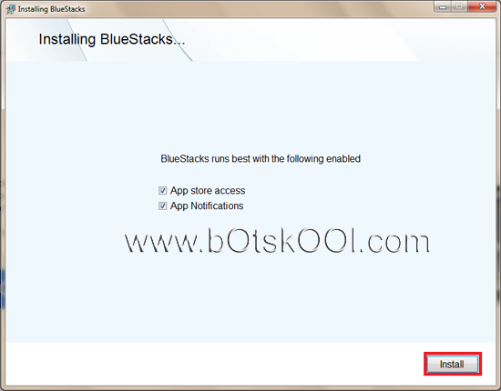 BlueStacks App Player - default settings