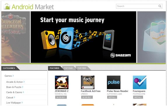 Android Market - Web Portal
