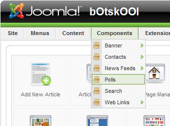 Joomla administration menu