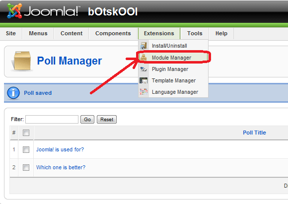 Module Manager in Joomla