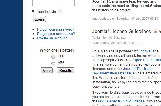 Joomla New Poll