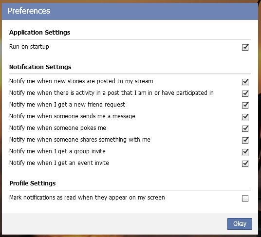 facebook desktop software settings window