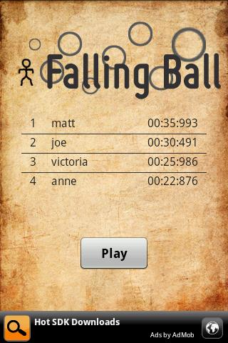 falling ball for android