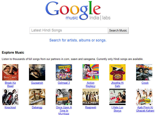 Google Music search for India
