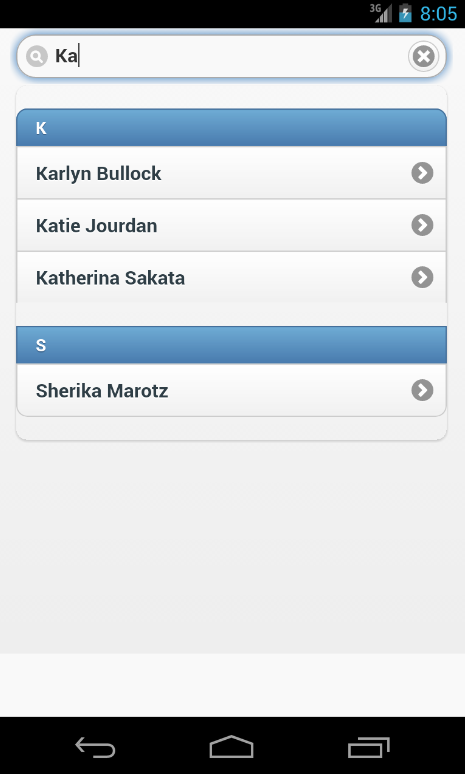 Searching in listview with autodividers of jQuery Mobile