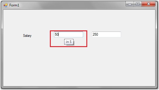 Visula Studion C# .NET Windows Form displaying tool tip