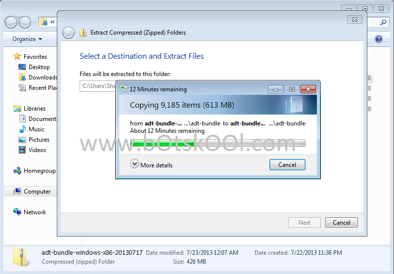 Extract Android SDK zip file