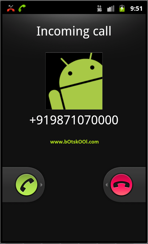 Incoming call to the emaluator