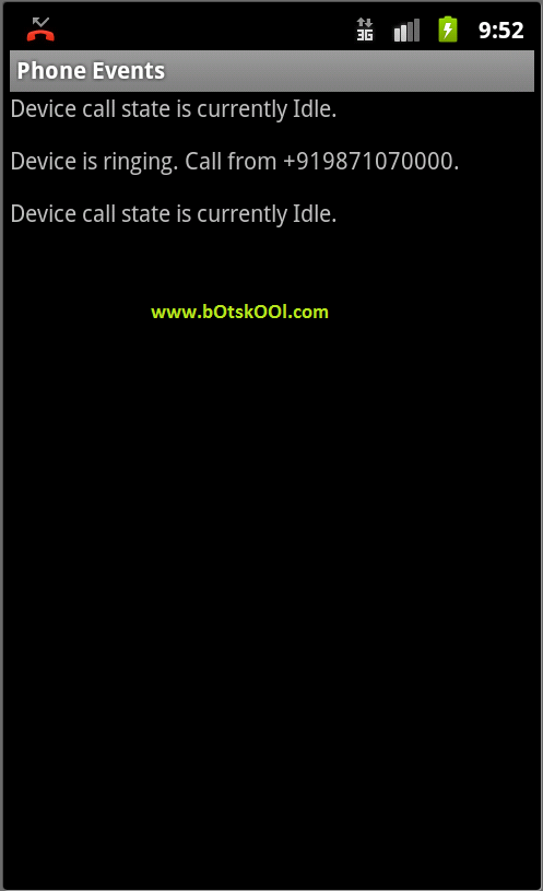 Phone Events list after call
