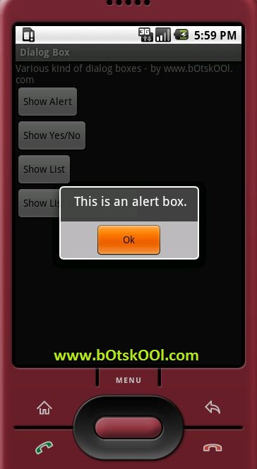 An alert box in android