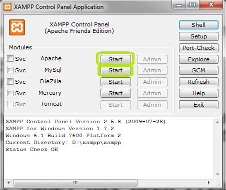 XAMPP Control Panel Dialog Box