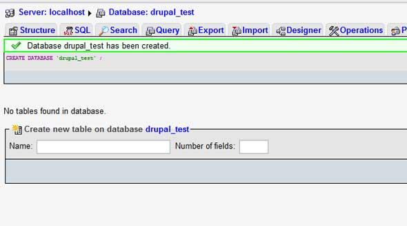 phpMyAdmin database created successfully