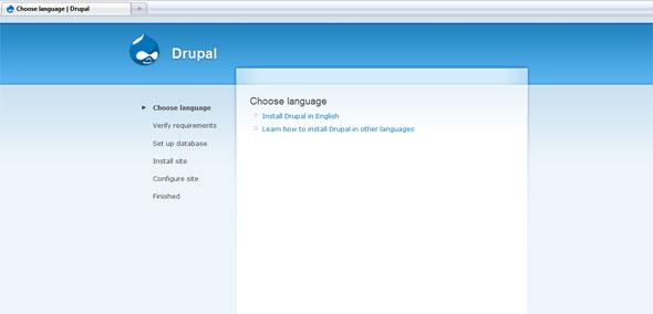Drupal installation webpage