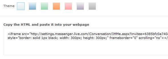 MSN chat code