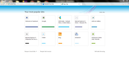 Internet Explorer 9 - New Tab Page