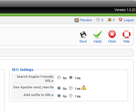 Joomla SEO settings