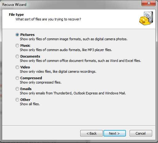 Recuva Wizard - File Type