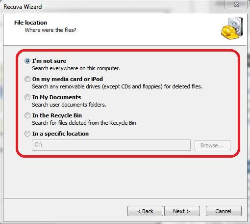 Recuva - Choose File Location