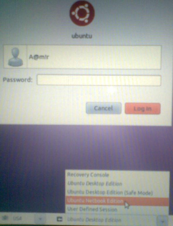 ubuntu netbook edition GDM selection in Ubuntu desktop