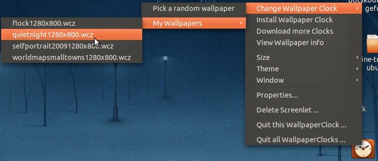ubuntu wallpaper clock install