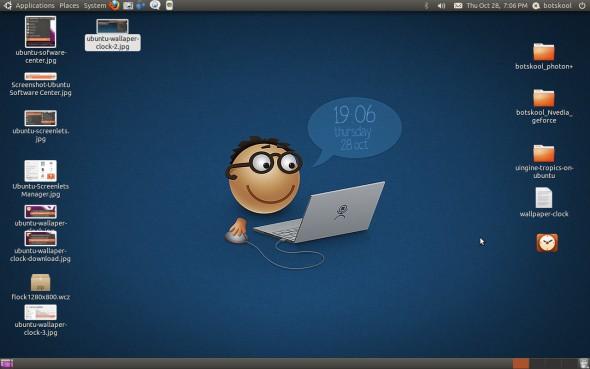 Ubuntu-wallpaper-clock