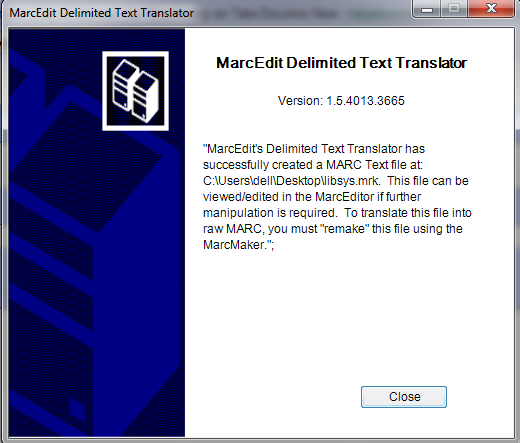 Marc Text File Created